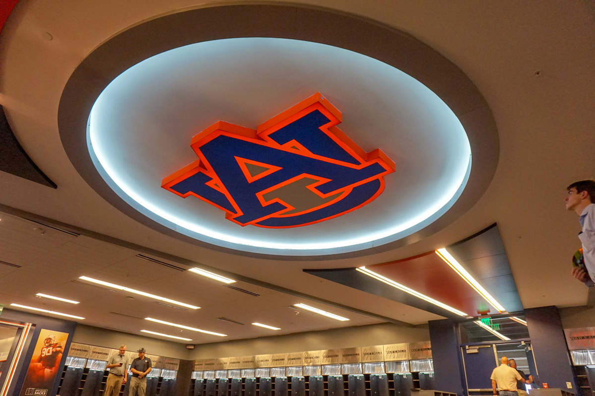 Fravert had to ensure the colors matched on the vast range of signage it produced for Auburn.