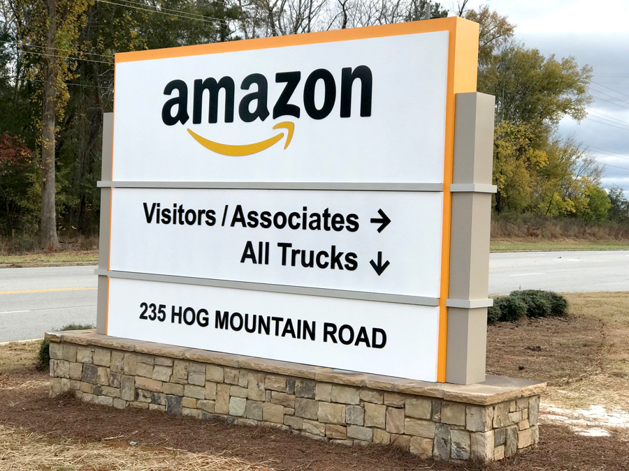 Avisos Architectural Signage fabricated and installed this monument sign for an Amazon facility in Jefferson, GA.