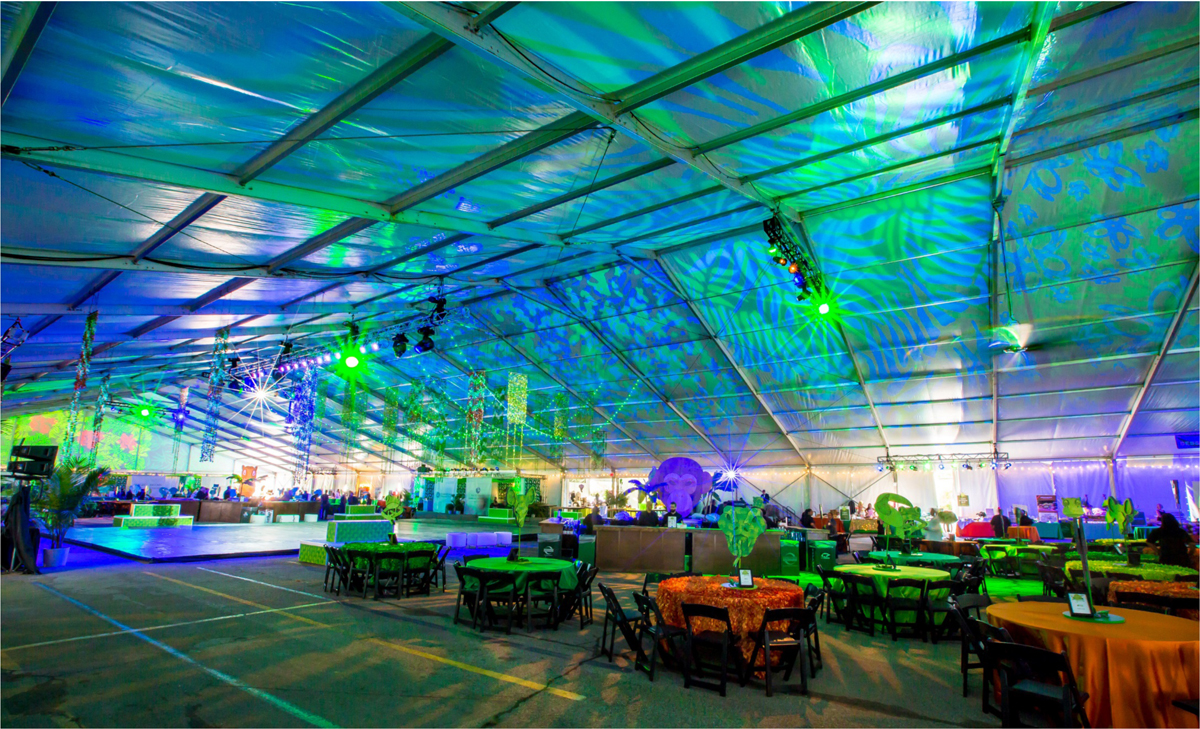 Whether you're dealing with a temporary tent in a parking lot, or an ornate hotel ballroom (see image gallery), custom lighting can create an ambiance that elevates any event.