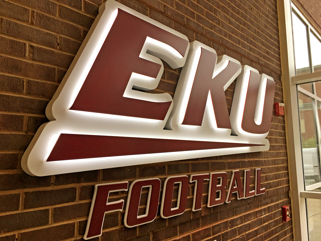 These 20 in. tall reverse channel letters for Eastern Kentucky University's football program were fabricated by Integrity Sign Solutions (New Albany, IN) and installed by Instant Signs (Lexington, KY). The letters are halo-lit with Principal LED's Qwik Tape technology.