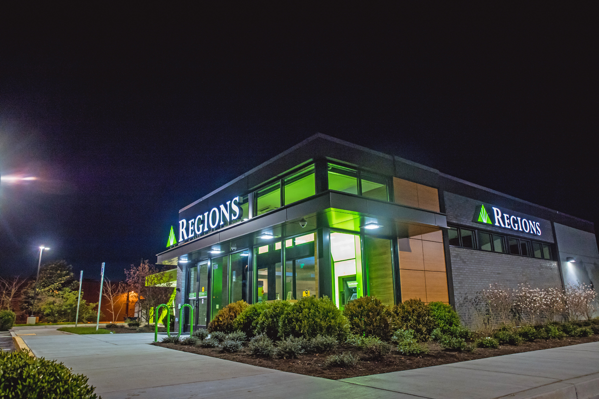 Philadelphia Sign Co. has an extensive recycling program and does LED lighting conversion projects, like this one for Regions Bank.