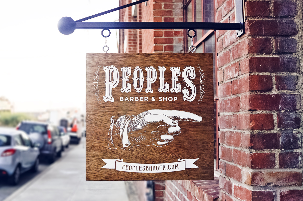 From sketch to sign, Tinkering Monkey didn't have to toy around too much to create a winning sign for Peoples Barber.