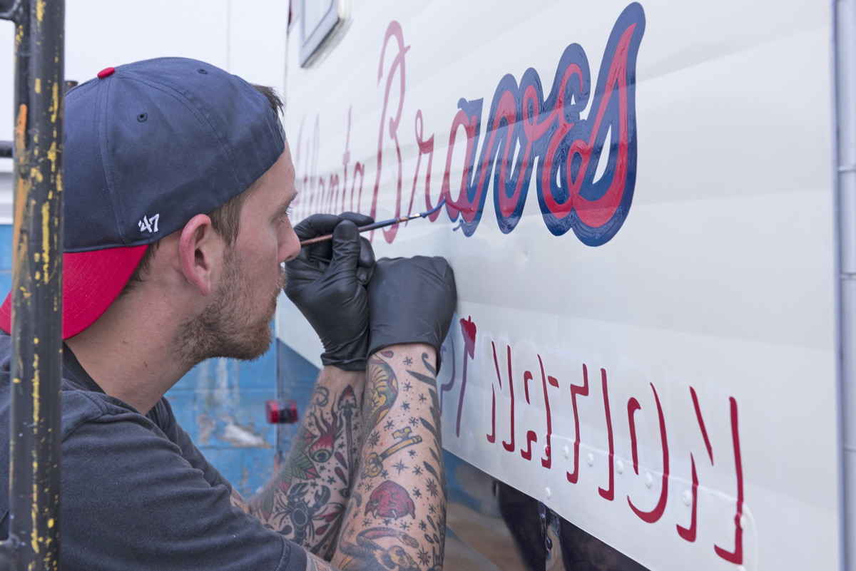 Adam McNeil recently completed a paint job for this Serro Scotty trailer owned by the Atlanta Braves.