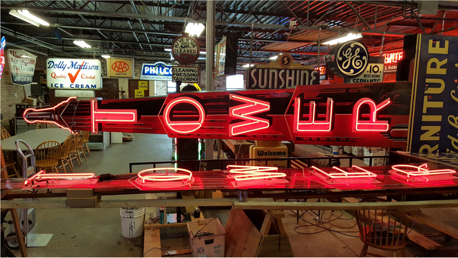 This Tower Furniture sign was the first notable restoration project for the American Sign Museum.