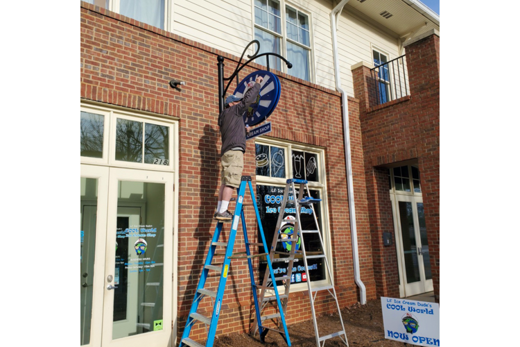 The Lil Ice Cream Dude's Cool World ice cream shop sign was carefully crafted by The Sign Brothers (Bogart, GA) for its 16-year-old owner's first brick-and-mortar shop.