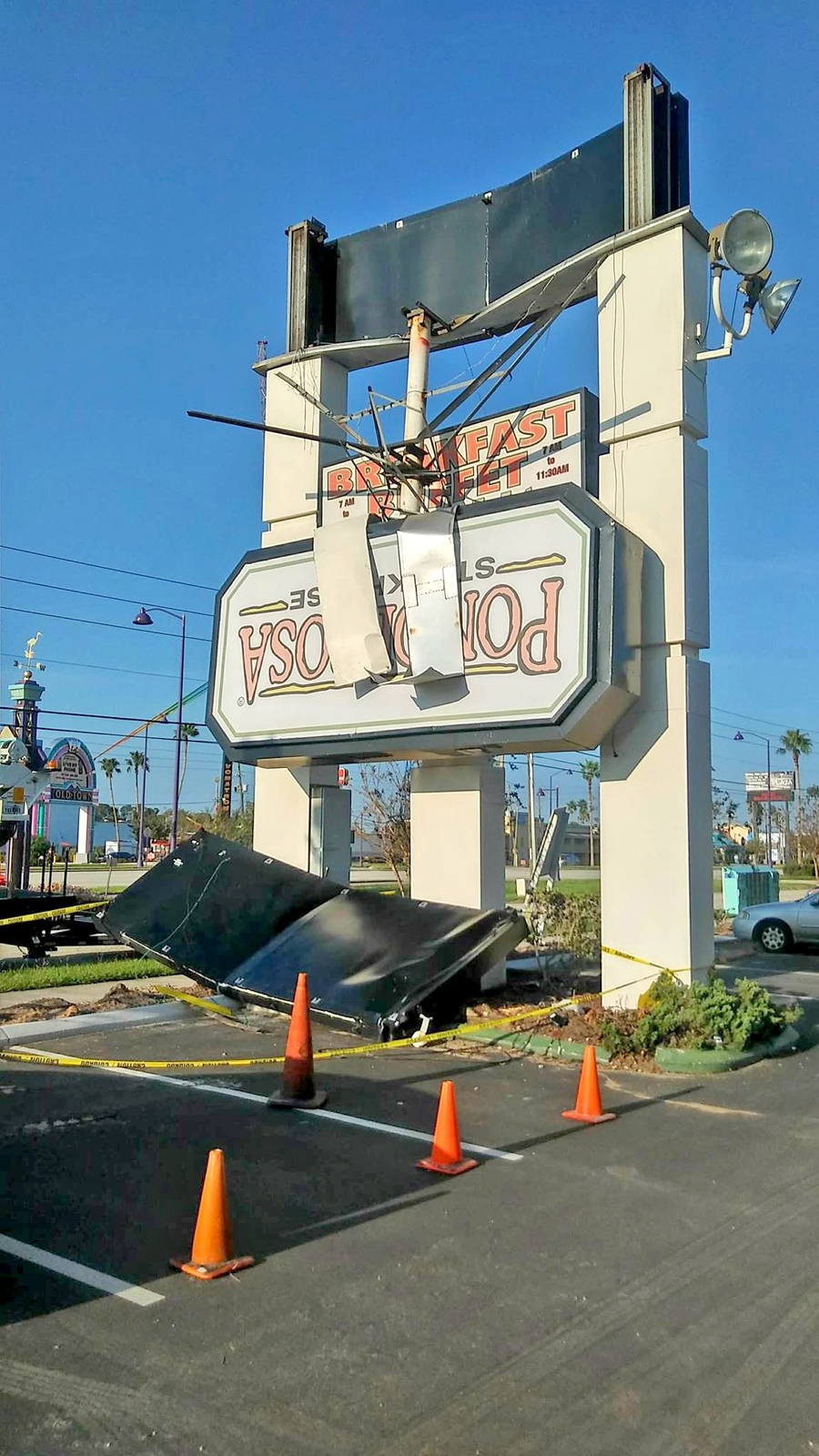A sign damaged by Hurricane Irma.