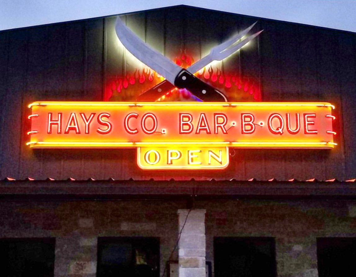 Blackout Signs also took second with this creation for Hays Co. Bar-B-Que.