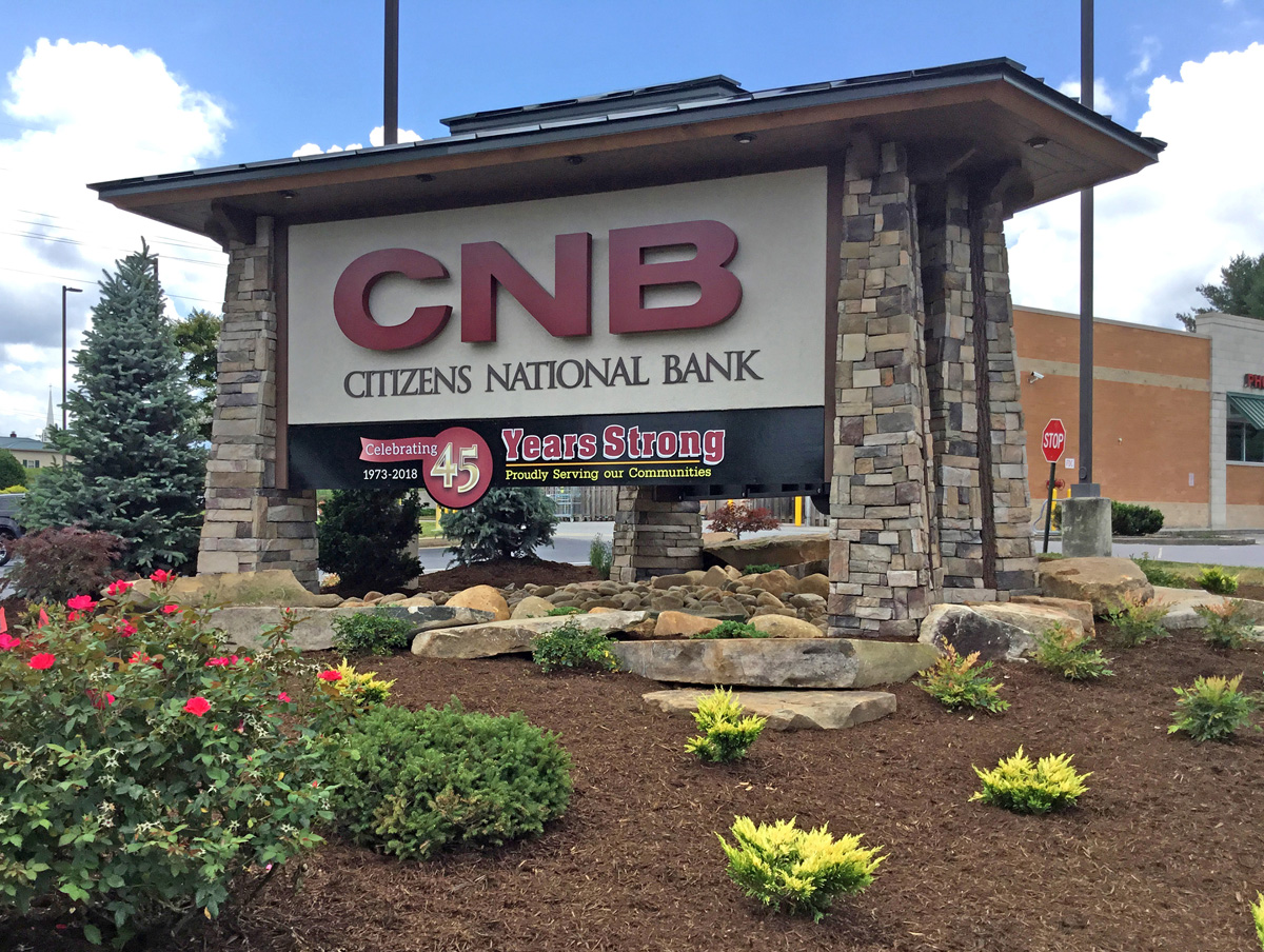 Custom Craftsman Signs claimed third in Best Original Design and Fabrication, Illuminated, Small Shop with a sign for Citizens National Bank.