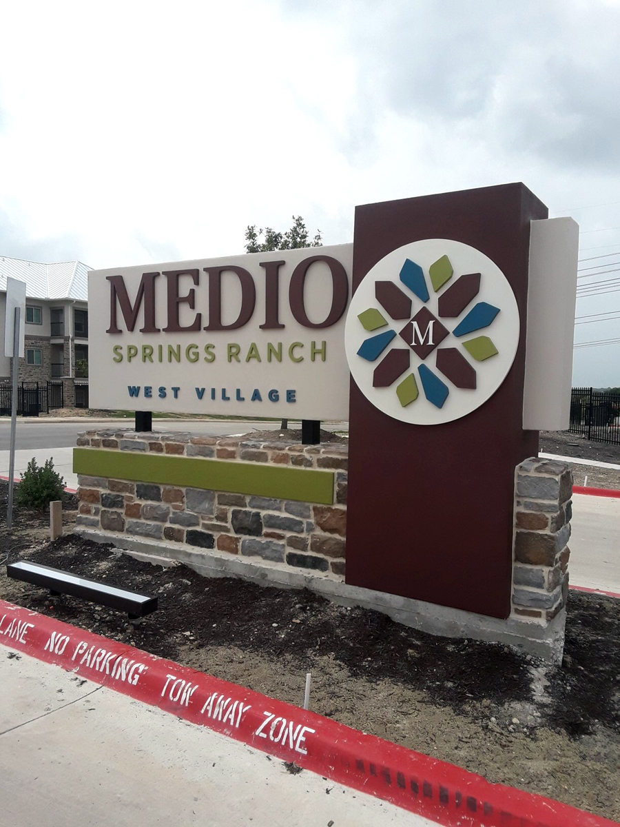 Signs West produced this sign for Medio Springs Ranch Apartments.