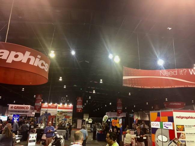 A portion of the Sign Expo Canada show floor at the International Centre.
