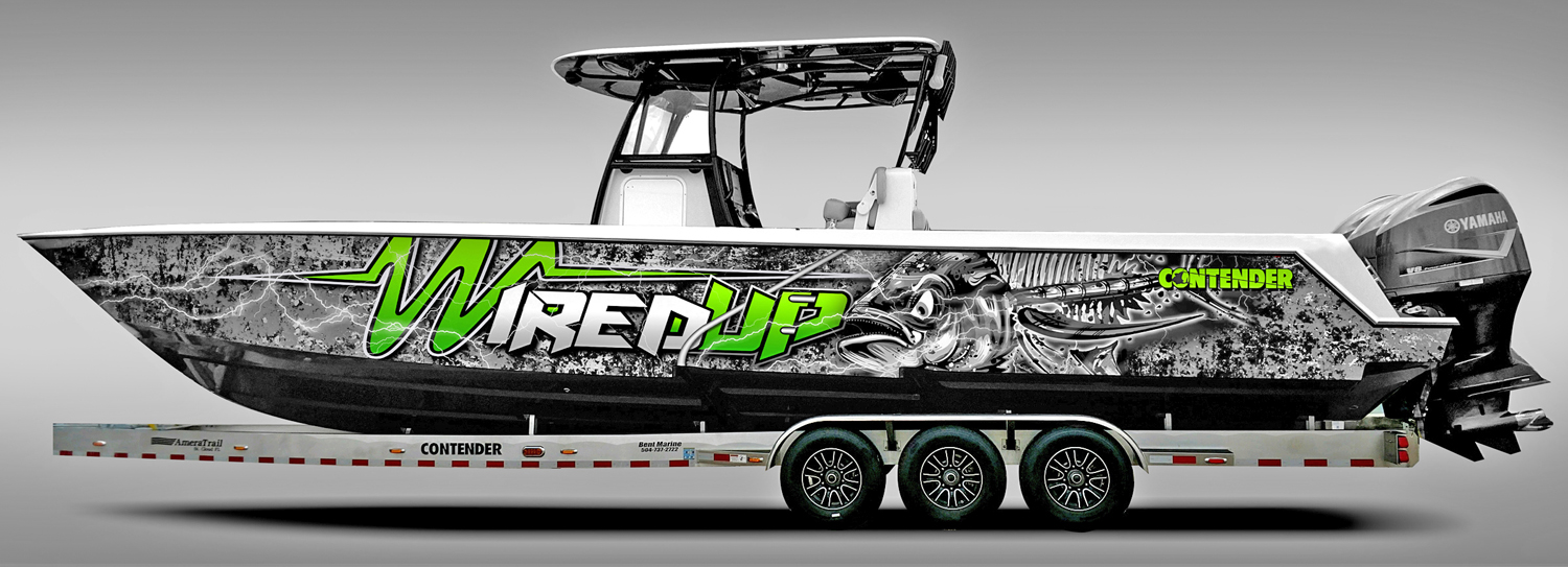 Picture This Advertising (Mandeville, LA) wrapped this 39-ft. Contender Fishing Boat.