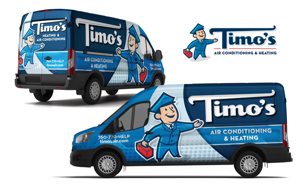 KickCharge Creative's rebranded logo, mascot and wrap design for Timo's Air Conditioning & Heating.