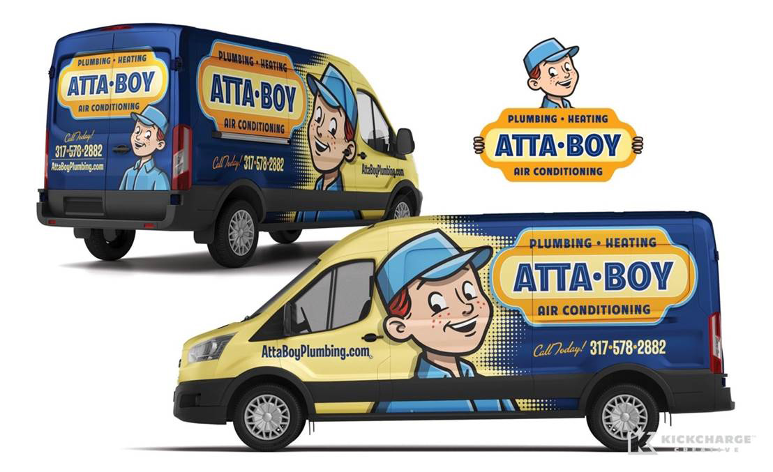 KickCharge Creative redesigned AttaBoy Plumbing's cartoon logo.