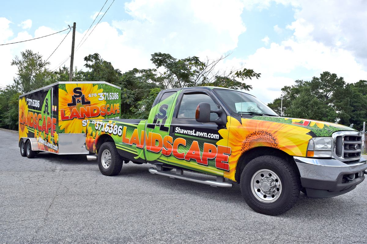 Flying Donkey Creative Inc. (Marietta, GA) produced this wrap for a lawn care company.